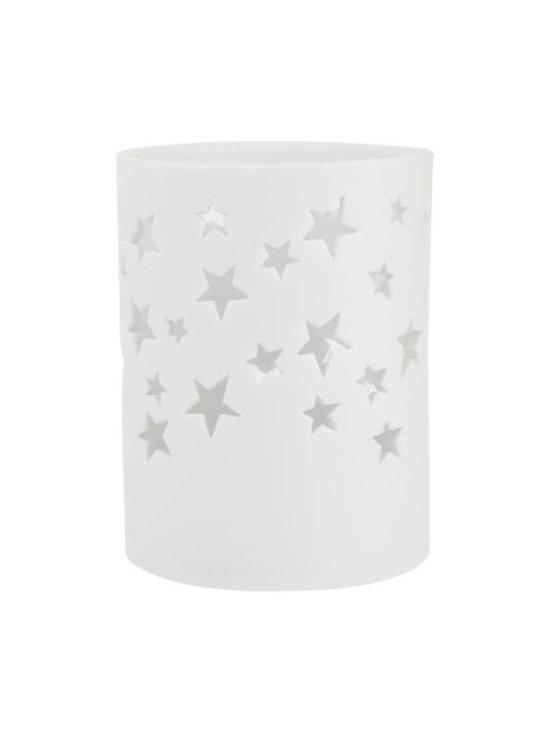 White Bisque Star Tea Light Holder -