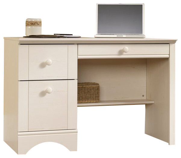 Sauder Harbor View Computer Desk in Antiqued White beach-style-desks ...
