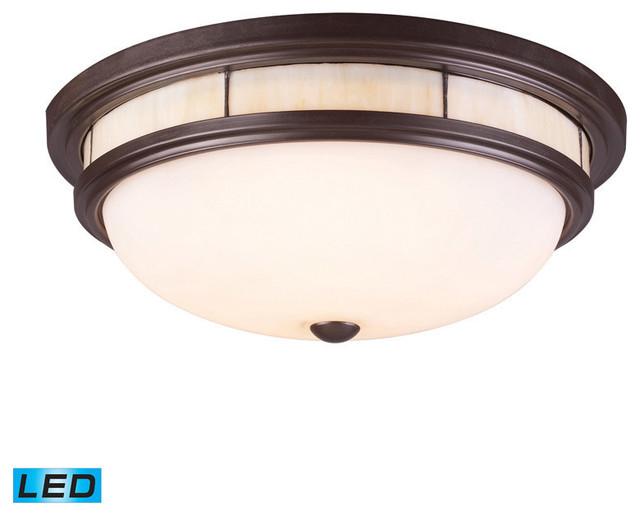 Landmark Lighting Tiffany 70014-3-LED 3-Light Flush Mount in OiLED Bronze - LED contemporary-ceiling-lighting