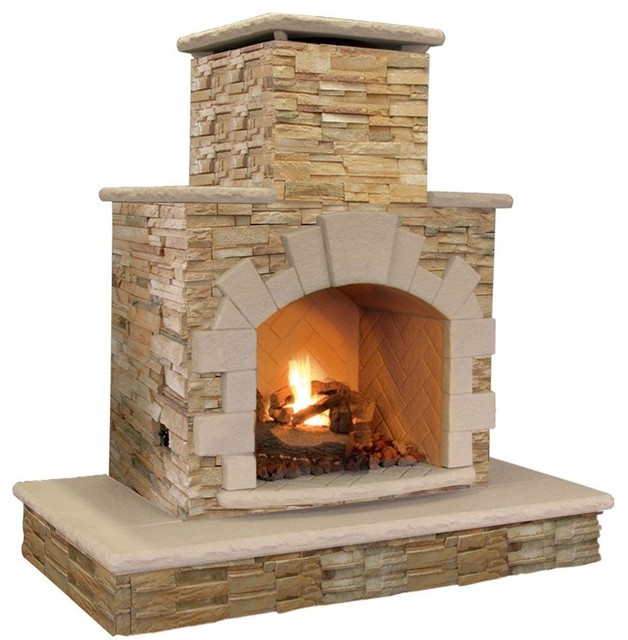 Cal Flame Outdoor Fire Pits 78 In Brown Natural Stone Propane Gas Outdoor Contemporary Fire