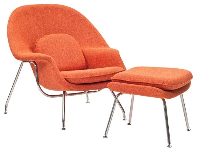 W Lounge Chair in Orange Tweed Midcentury Armchairs And Accent Chairs b