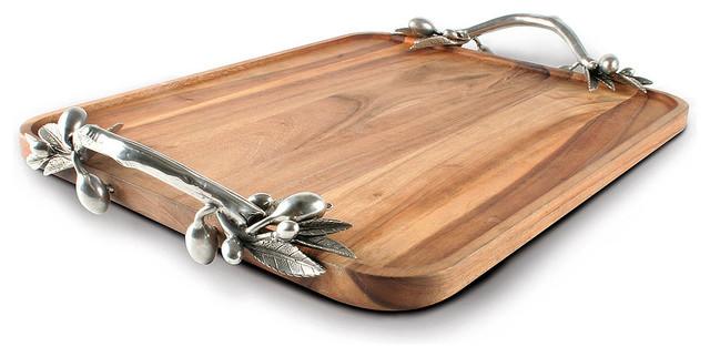 Olive Acacia Wood Rectangular Tray - Large - Transitional ...