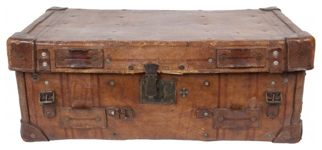 Antique Leather Valise traditional-decorative-boxes