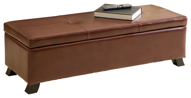 Canal Storage Ottoman Bench Transitional Accent And