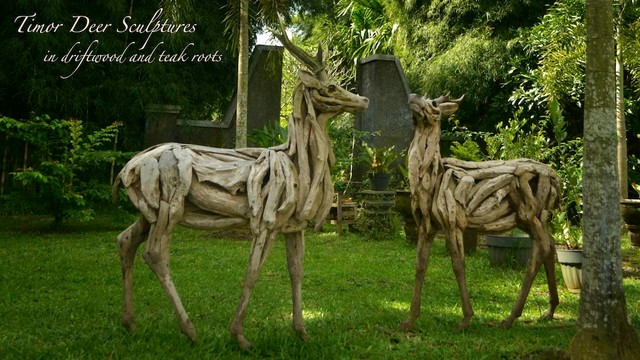Driftwood Deer Sculptures Traditional Garden Statues