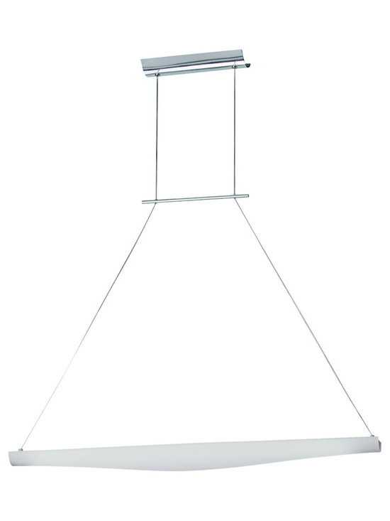 "ET2 - Opal Glass Chrome Finish Large Pendant Light - This contemporary large pendant light has a charming hand-made appearance. The thin bent chrome frame is triangular in shape and holds the light horizontally on each end. The light is covered by attractive opal glass. Chrome finish. Opal glass. Includes one 21 watt bulb. 36"" wide x 5"" wide x 4"" high. 123"" overall height.  Chrome finish.  Opal glass.   A stylish large chandelier.  Includes one 21 watt bulb.  36"" wide x 5"" wide x 4"" high.  123"" overall height."