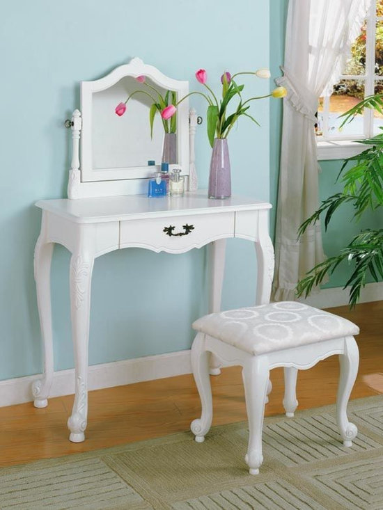 Bedrooms Furniture - Transitional White Vanity&Stool