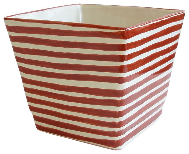 Ceramic Square Planter, Orange and White - Contemporary ...
