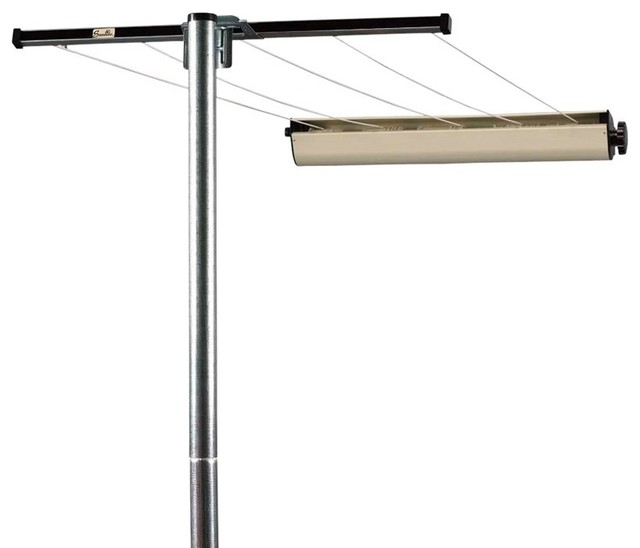 Clothes Line: Household Essentials 3-Piece Pole with Retractable Clothesline - Contemporary ...