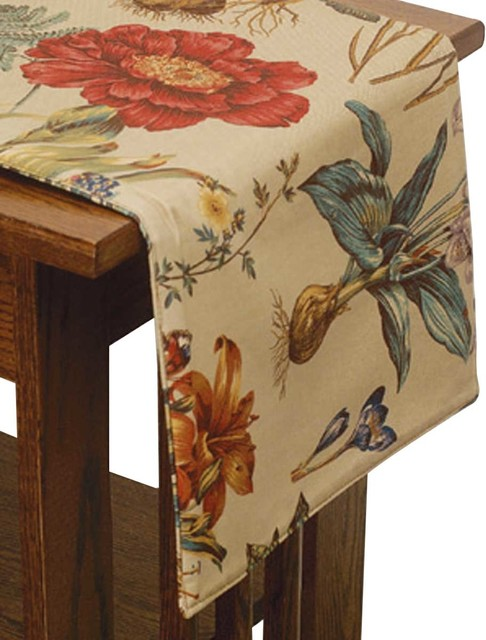 Table Cloths Colored Cotton Botantical Table Cloth 13'' x 54'&#03 traditional-tablecloths