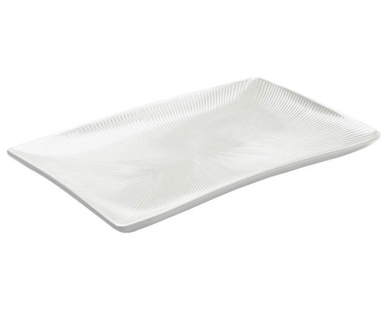 EGS - Display White Sunburst 17 x 11 x 1 1/2 H Rectangular Textured Tray - Case of 4 - DescriptionsThis collections subtle texture is reminiscent of warm sunrays bursting through pillowed clouds on a summers day. Sunburst is sure to brighten your most flavorful fare
