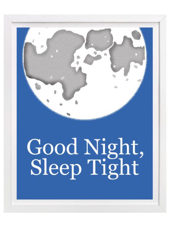 Nursery Art, Childrens Art - Good Night, Sleep Tight - typography nursery art features a moon. Corrdinates with our Rise and Shine art print.