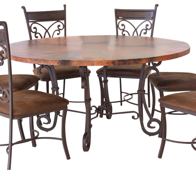 Artisan Home Valencia 60 Inch Copper Top Dining Table With