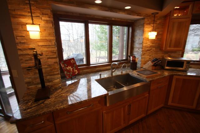 stacked stone backsplash traditional kitchen cleveland by - Stone Kitchen Backsplash