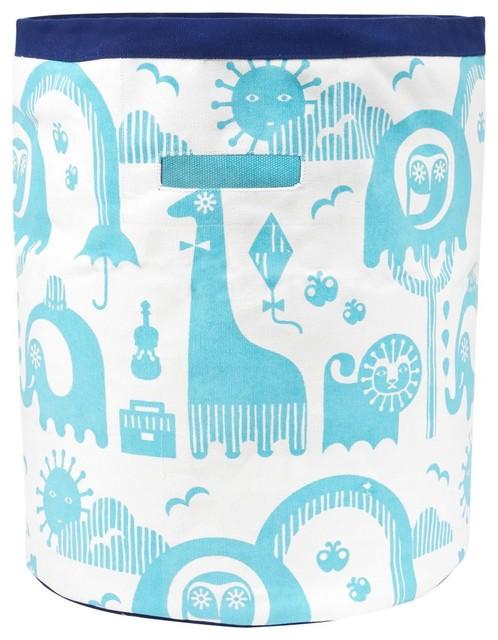 Jonathan Adler Junior Animal Canvas Storage, Large Blue modern-toy-storage