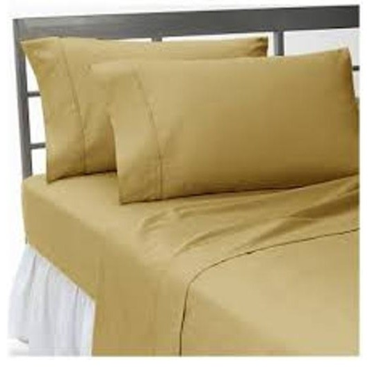 600TC 100% Egyptian Cotton Solid Beige Full XL Size Fitted Sheet contemporary-fitted-sheets