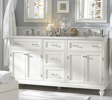 Modular Classic Double Sink Console with Doors & Drawers, White with White Marbl - Traditional ...