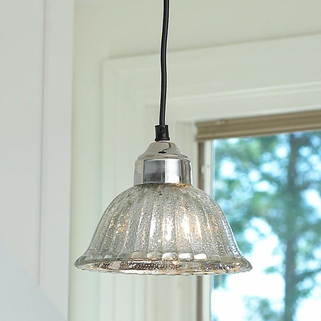 Mercury Glass Bell Pendant - Pendant Lighting - by Shades of Light