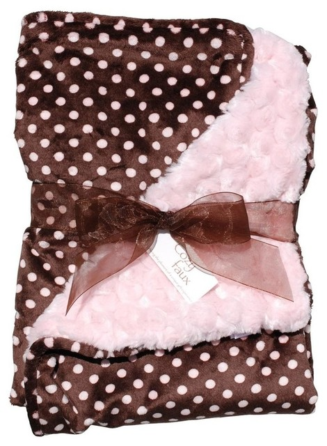 Baby Blanket, Light Pink and Polka Dot contemporary-baby-bedding