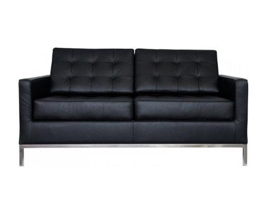 Florence Knoll Style Loveseat Italian Leather Black -