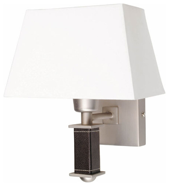 Wall Lamps With Shades : Wall Lamp, Ss With Leather Pole & White Shade, 60With A Type - Traditional - Wall Lighting - by ...