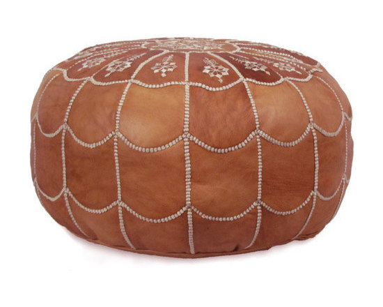Ikram Design - Arch Designed Moroccan Leather Pouf, Dark Tan, Arch Design - Arch designed poufs are stylish and beautiful, These Moroccan poufs will fit seamlessly into any d̩cor and they're sure to delight every member of the household. They are great for kids rooms, your bedroom, or even the office; the arch-designed pouf is elegant and offers a great addition to any home. Because they are available in many colors, we are sure you will find one that takes your fancy right away, They come pre-stuffed with filling fiber.