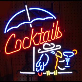 Cocktails & Parrot 22 x 22 Neon Sign modern-home-decor