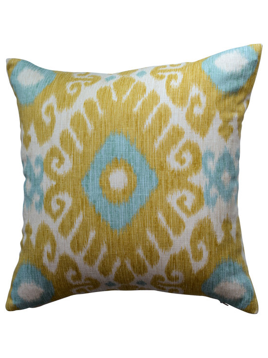 KH Window Fashions, Inc. - Shades of Yellow, Green and Ivory Ikat Decorative Pillow, Without Insert - Shades of Yellow, Green and Ivory Ikat Pillow. Perfect to toss on your bed or sofa.