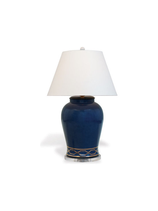 "Pavillion Indigo Blue Lamp 35"" - Grand in scale, the Pavillion Lamps are inspired by the chain pattern of the ""Pavillion Trellis"" wallpaper and fabric by Scalamandre. Accented with highlights of a gold trellis border; resting on a 11.5"" diameter lucite base--the lamps feature a crystal ball finial. 3 way switch. 150 watt max. Clear cord. Brass hardware. Brass spider."