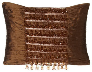 "Austin Horn Classics Silk Pillow w/ Beaded Fringe at Center, 13"" x 18"" traditional-decorative-pillows"