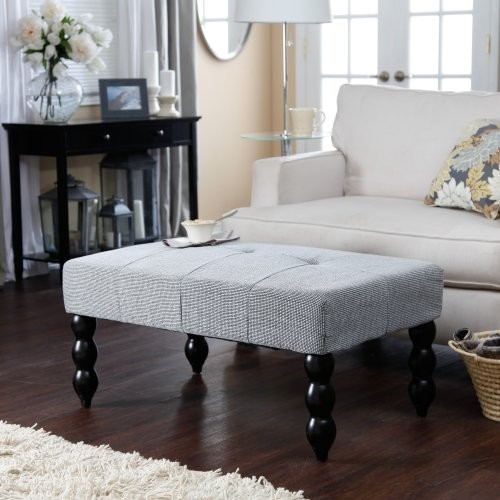 Altea Upholstered Coffee Table Bench - Black and White traditional-coffee-tables