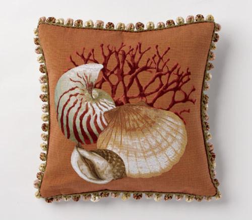 Deep Orange Clam Pillow tropical-decorative-pillows