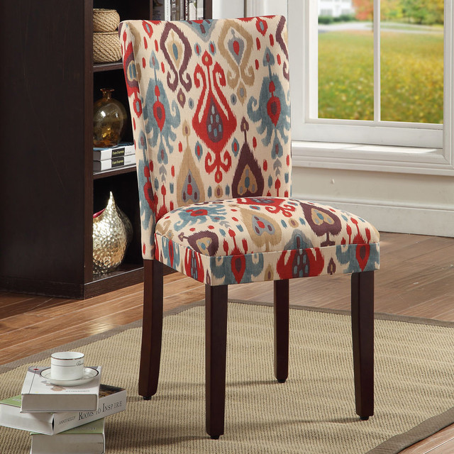 Parson Deluxe Multi Color Ikat Dining Chairs Set Of 2