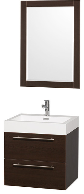 Amare 24in. Wall Vanity Set in Espresso w/ Acrylic-Resin Top and Integrated si modern-bathroom-vanities-and-sink-consoles