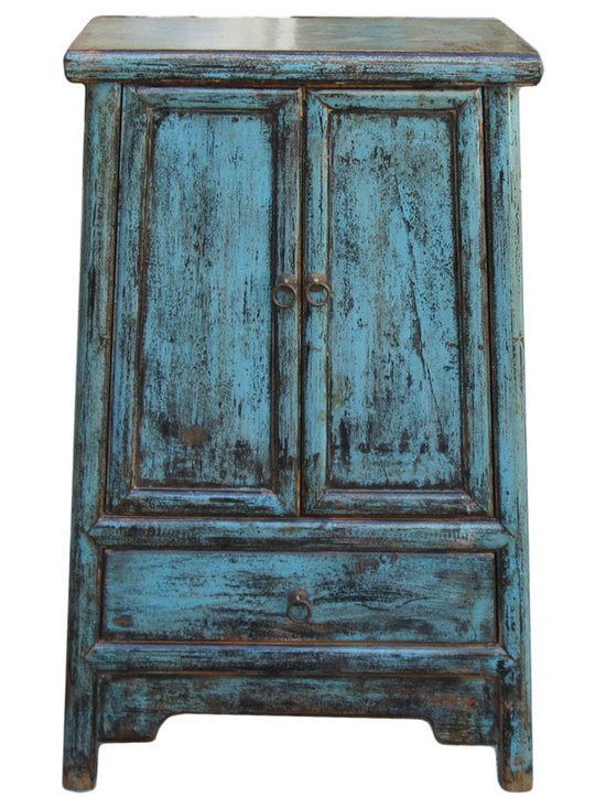 Chinese Rustic Blue End Table Nighstand - This is an oriental narrow noodle cabinet in end table / nightstand size. The surface is painted in rustic blue lacquer color.