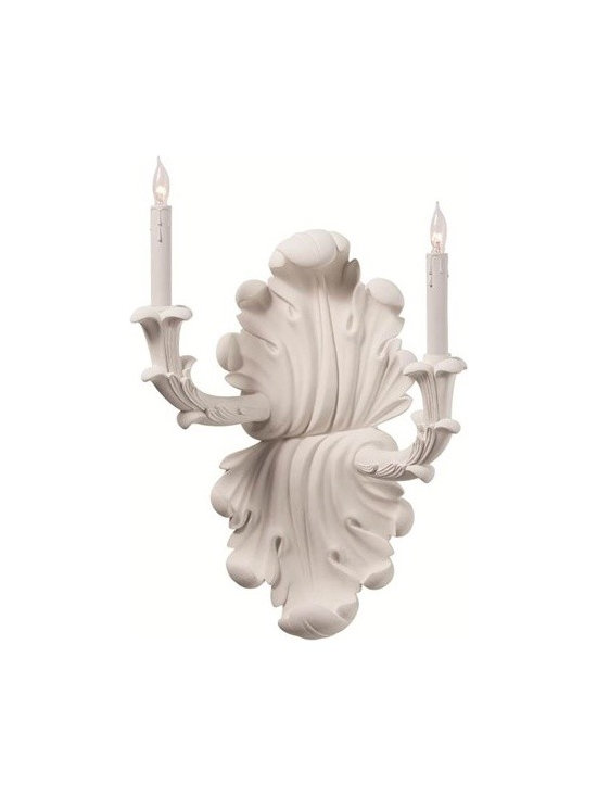 Arteriors Gemini 2 Light Chalk White Sconce, Left - Gemini 2 Light Chalk White Sconce, Left
