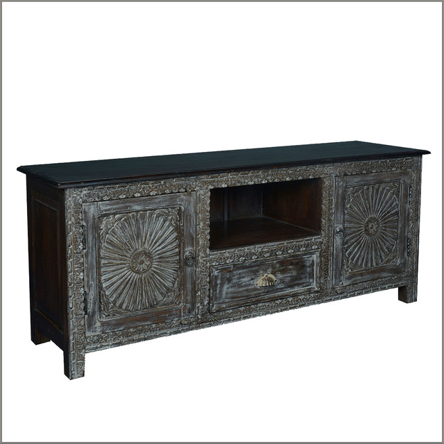 Reclaimed Wood Traditional TV Cabinet Media Console Entertainment Center - Rustic ...