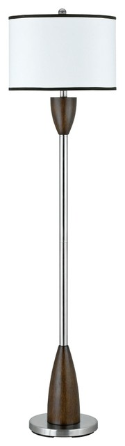 Contemporary Brushed Steel and Faux Wood Floor Lamp contemporary-floor-lamps