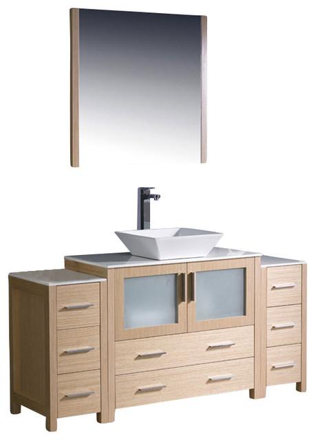 Modern bathroom vanity w two side cabinets amp vessel sink li modern