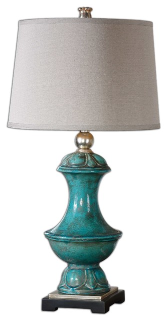 Lynden Aged Blue Lamp traditional-table-lamps