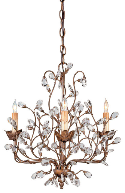 Currey Co 9883 Crystal Bud Cupertino 3 Light Chandelier Rustic Chandeliers