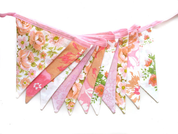 Vintage Retro Pink, Peach And Lace, Floral Flag Bunting By MerryGoRoundHANDMADE traditional accessories and decor