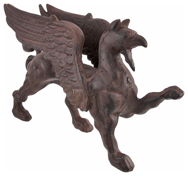 Cast iron griffin gargoyle statue door stop antique finish for Gargoyle decor