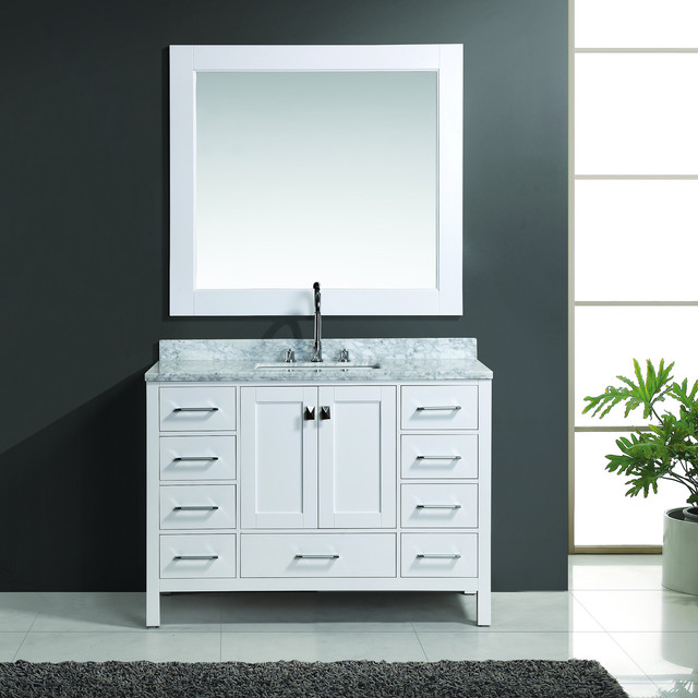 London 48 inch White Single Sink Vanity Set with Mirror