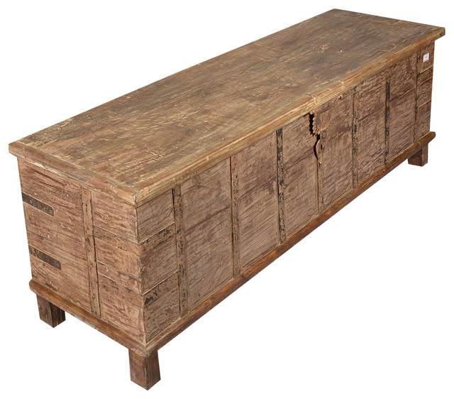 Rustic Reclaimed Wood Extra Long Storage Trunk Chest rustic-storage-bins-and-boxes