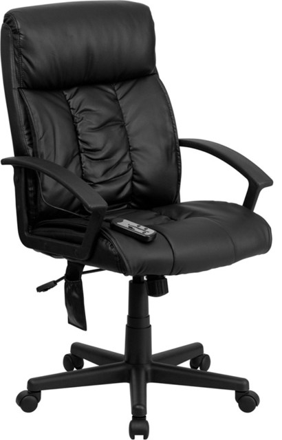 Flash Furniture High Back Massaging Black Leather Executive Office Chair traditional-home-office-accessories