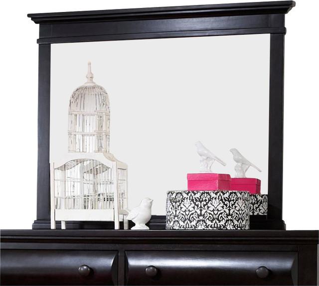 Broyhill Farnsworth Landscape Dresser Mirror in Inky Black Stain transitional-mirrors