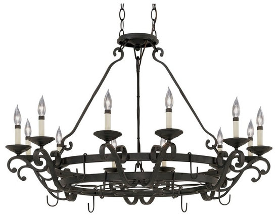 Designers Fountain - Designers Fountain Barcelona Lighted Potrack in Natural Iron - Shown in picture: Messina Pot Rack in Natural Iron finish