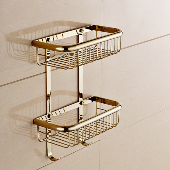 Wall Mount Gold Bathroom Storage And Shower Wire Basket