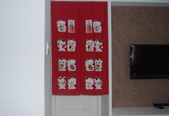 Lovely Maneki Neko fabric Printing Door Curtain modern-shower-curtains